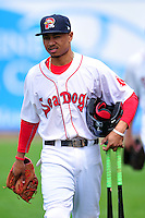 Portland Sea Dogs second baseman Mookie Betts #7 prior to a game versus the Trenton Thunder at Hadlock Field in Portland, Maine on May 17, 2014. (Ken Babbitt/Four Seam Images)