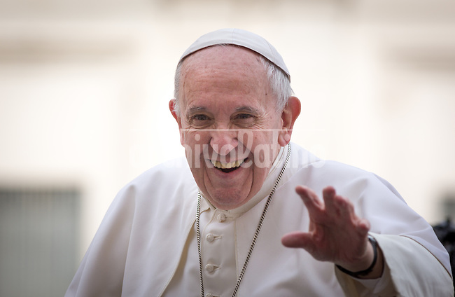 Pope Francis during his appearance during a conferencer organized by Papal Council for Culture to greet participants in San Peters Square .