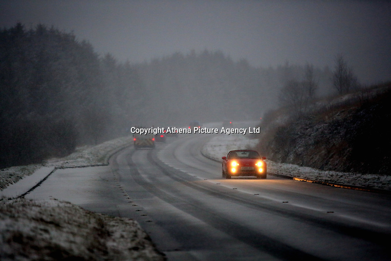 Pictured: A car travels on the A470 in the Brecon Beacons, south Wales, UK.  Friday 08 December 2017<br /> Re: Snow and ice has been forecast for parts of the UK.