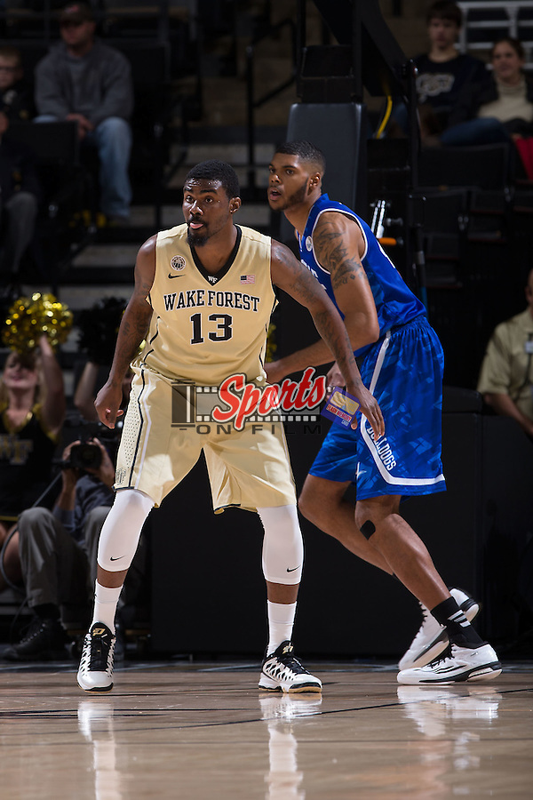 Darius Leonard (13) of the Wake Forest Demon Deacons on defense during first half action against the UNC Asheville Bulldogs at the LJVM Coliseum on November 14, 2014 in Winston-Salem, North Carolina.  The Demon Deacons defeated the Bulldogs 80-69  (Brian Westerholt/Sports On Film)