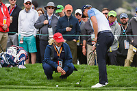 Danny Willett (GBR) chats with a rules official near the green on 6 during round 2 of the 2019 US Open, Pebble Beach Golf Links, Monterrey, California, USA. 6/14/2019.<br /> Picture: Golffile | Ken Murray<br /> <br /> All photo usage must carry mandatory copyright credit (© Golffile | Ken Murray)