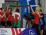 Wales Jazz Carling celebrates winning Silver  in the 400mm womans freestyle<br /> <br /> Photographer Ian Cook/Sportingwales<br /> <br /> 20th Commonwealth Games -Swimming -  Day 6 - Tuesday 29th July 2014 - Glasgow - UK