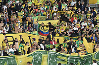 BOGOTA - COLOMBIA, 29-05-2018: Hinchas del Huila animan a su equipo durante el partido de ida entre Atlético Huila y Atlético Nacional por la semifinal de la Liga Águila I 2018 jugado en el estadio Nemesio Camacho El Campin en la ciudad de Bogotá. / Fans of Huila cheer for their team during the first leg match between Atletico Huila and Atletico Nacional for the semifinal of the Aguila League I 2018 played at Nemesio Camacho El Campin in Bogota city. VizzorImage/ Gabriel Aponte / Staff