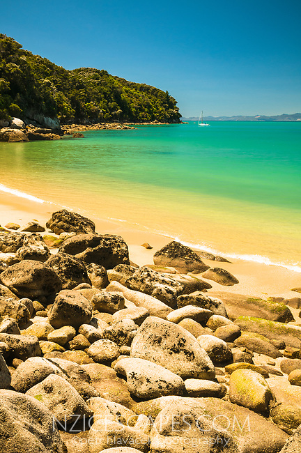 Golden beach at Watering Cove on Abel Tasman Coastal Track, Abel Tasman National Park, Nelson Region, New Zealand, NZ