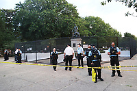 WASHINGTON, D.C. - JUNE 25: Park police stand guard as The National Park Service, in response to threats to topple Emancipation Memorial, fence it off to the public and provide security to deter any damage. The statue depicts Abraham Lincoln standing over a kneeling black slave. June 25, 2020 in Washington, D.C. <br /> CAP/MPI34<br /> ©MPI34/Capital Pictures