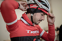 Julien Bernard (FRA/Trek-Segafredo) prepping for the ride<br /> <br /> Team Trek-Segafredo winter training camp<br /> rest day/coffee ride <br /> <br /> january 2017, Mallorca/Spain