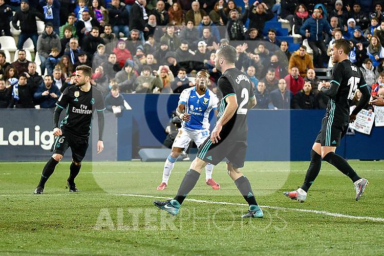 Leganes Claudio Beauvue fail goal vs Real Madrid during Copa del Rey  match. A quarter of final go. 20180118.