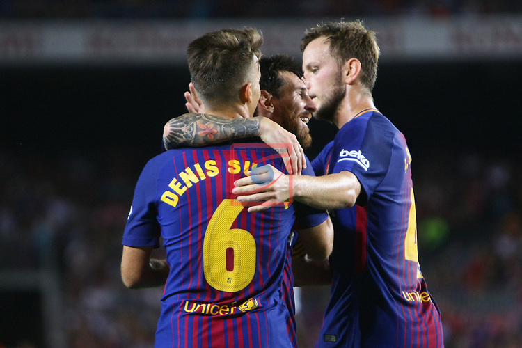 52e Trofeu Joan Gamper.<br /> FC Barcelona vs Chapecoense: 5-0.<br /> Denis Suarez, Lionel Messi &amp; Ivan Rakitic.
