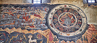 Pictures &amp; images of the interior fresco depicting 13th-century depiction of the &quot;Beast of the Apocalypse&quot; and figures of the Zodiac. The Eastern Orthodox Georgian Svetitskhoveli Cathedral (Cathedral of the Living Pillar) , Mtskheta, Georgia (country). A UNESCO World Heritage Site.<br /> <br /> Currently the second largest church building in Georgia, Svetitskhoveli Cathedral is a masterpiece of Early Medieval architecture completed in 1029 by Georgian architect Arsukisdze on an earlier site dating back toi the 4th century.