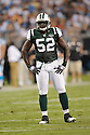 DAVID HARRIS, of the New York Jets in action during the Jets game against the Carolina Panthers  at Bank of America Stadium in Charlotte, N.C.  on August 21, 2010.  The Jets beat the Panthters 9-3 in the second week of preseason games...