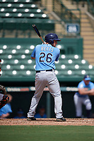 Tampa Bay Rays catcher Chris Betts (26) at bat during an Instructional League game against the Baltimore Orioles on October 2, 2017 at Ed Smith Stadium in Sarasota, Florida.  (Mike Janes/Four Seam Images)