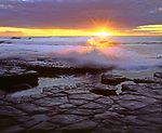 USA; California; San Diego.; Sunset Cliffs tidepools on the Pacific Ocean at Sunset.