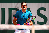 4th June 2017, Roland Garros, Paris, France; French Open tennis championships;   MILOS RAONIC (CAN)  during day seven match of the 2017 French Open on June 4, 2017, at Stade Roland-Garros in Paris, France.