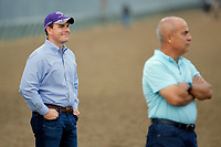 LOUISVILLE, KENTUCKY - APRIL 30: Trainer Mark E.Casse (R) and his son and assistant trainer Norm Casse watches morning workouts at Churchill Downs on April 30, 2017 in Louisville, Kentucky. (Photo by Jon Durr/Eclipse Sportswire/Getty Images)