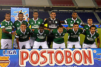 BARRANQUILLA - COLOMBIA -30-03-2014: Los jugadores de Deportivo Cali posan para una foto durante partido Universidad Autonoma y Deportivo Cali por la fecha 13 de la Liga Postobon I 2014, jugado en el estadio Metropolitano Roberto Melendez de la ciudad de Barranquilla. / The players of Deportivo Cali pose for a photo during a match between Universidad Autonoma and Deportivo Cali for the date 13th of the Liga Postobon I 2014 at the Metropolitano Roberto Melendez stadium in Barranquilla city. Photo: VizzorImage  / Alfonso Cervantes / Str.