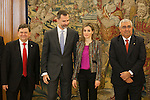 King Felipe VI of Spain and Queen Letizia of Spain receive Spanish Universities Rectors representatives during a royal audience at Zarzuela Palace in Madrid, Spain. January 08, 2015. (ALTERPHOTOS/Victor Blanco)
