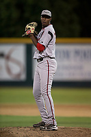Lake Elsinore Storm relief pitcher Dauris Valdez (32) prepares to deliver a pitch during a California League game against the Modesto Nuts at John Thurman Field on May 12, 2018 in Modesto, California. Lake Elsinore defeated Modesto 4-1. (Zachary Lucy/Four Seam Images)