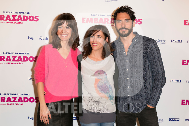 Alexandra Jimenez, Ahinoa Aierbe and Paco Leon present the start of filming of the movie 'Embarazados' in Madrid, Spain. Oct. 23, 2014. (ALTERPHOTOS/Carlos Dafonte)