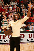 18 November 2005: Ogonna Nnamani with her Broderick Cup Award during Stanford's 3-2 win over California in the Big Spike at Maples Pavilion in Stanford, CA.