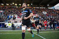 Elliott Stooke and the rest of the Bath Rugby team run onto the field. European Rugby Champions Cup match, between RC Toulon and Bath Rugby on December 9, 2017 at the Stade Mayol in Toulon, France. Photo by: Patrick Khachfe / Onside Images