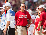 North Carolina State head coach Dave Doreen walks the sidelines in the second half of an NCAA college football game against Florida State in Tallahassee, Fla., Saturday, Sept. 23, 2017.  NC State defeated Florida State 27-21. (AP Photo/Mark Wallheiser)