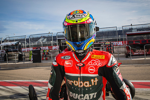 03.04.2016. Motorland, Aragon, Spain, World Championship Motul FIM of Superbikes. Chaz Davies #7, Ducati 1199 Panigale R rider of Superbike before  the Race  in the World Championship Motul FIM of Superbikes from the Circuito de Motorland.