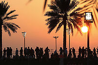 30th November 2019; Yas Marina Circuit, Abu Dhabi, United Arab Emirates; Formula 1 Abu Dhabi Grand Prix, qualifying day; Fans at sunset - Editorial Use