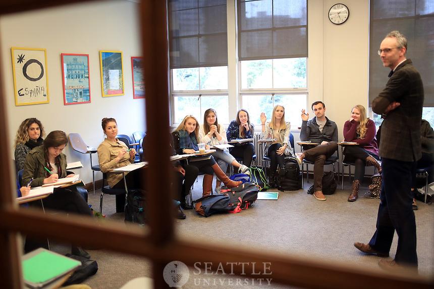 03112015-  Instructor Daniel Washburn's Matteo Ricci class at Seattle University.