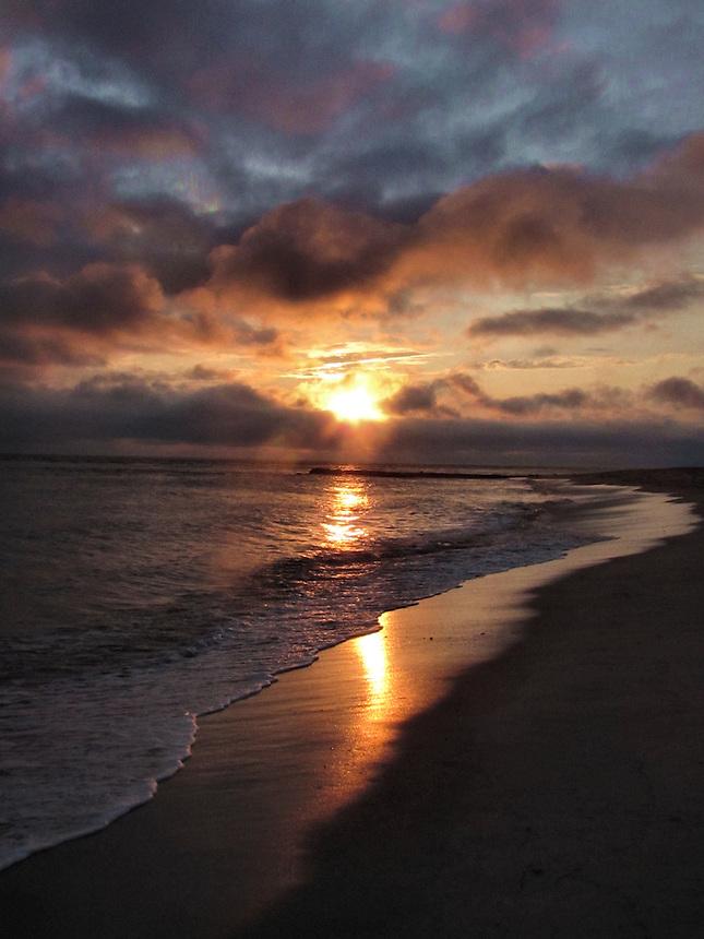 sunset, beach,