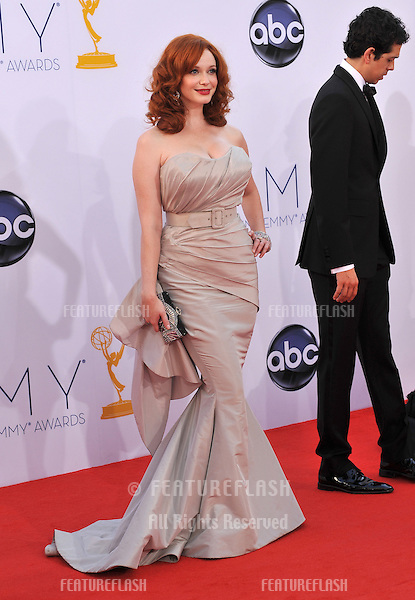 Christina Hendricks at the 64th Primetime Emmy Awards at the Nokia Theatre LA Live..September 23, 2012  Los Angeles, CA.Picture: Paul Smith / Featureflash