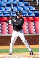 Joe Napolitano #12 of the Wake Forest Demon Deacons at bat during an intrasquad scrimmage at Wake Forest Baseball Park on January 29, 2012 in Winston-Salem, North Carolina.  (Brian Westerholt / Four Seam Images)