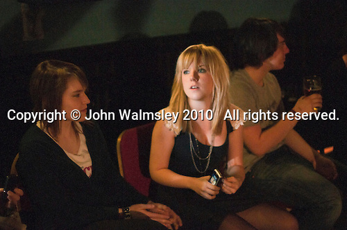 Audience waiting for the show to begin.  Students on the 2yrs National Diploma in Music course put on an evening of bands at the Grey Horse pub, Kingston upon Thames.  They would have organised everything themselves: marketing, DJ-ing, production and performing.