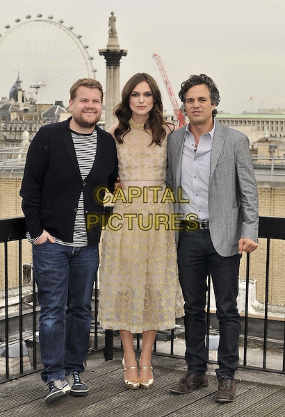 LONDON, ENGLAND - JULY 02: James Corden, Keira Knightley &amp; Mark Ruffalo attend the &quot;Begin Again&quot; press photocall on the rooftop of Picturehouse Cinemas Ltd., St Vincent House, Orange St., on Wednesday July 02, 2014 in London, England, UK.<br /> CAP/CAN<br /> &copy;Can Nguyen/Capital Pictures
