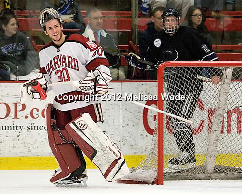 Raphael Girard (Harvard - 30) - The Harvard University Crimson defeated the visiting Bentley University Falcons 5-0 on Saturday, October 27, 2012, at Bright Hockey Center in Boston, Massachusetts.