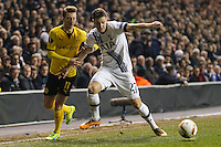 Kevin Wimmer of Tottenham Hotspur (right) holds off Marco Reus of Borussia Dortmund (left) during the UEFA Europa League match between Tottenham Hotspur and Borussia Dortmund at White Hart Lane, London, England on 17 March 2016. Photo by David Horn / PRiME Media Images