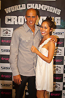 """Kelly Slater (USA) with girlfriend Kalani Millar. COOLANGATTA, Queensland/Australia (Thursday, February 25, 2010). The ASP World Champions' Crowning took place tonight at the Gold Coast Convention and Exhibition Centre beginning at 6:30pm.. .Surfing's """"night of nights"""", the ASP World Champions' Crowning, was a gala event, hosting the world's best surfers as well as distinguished figures from the surfing industry in honour of the 2009 ASP World Champions.. .Mick Fanning (AUS), accepted his second ASP World Champion trophy,  just days before beginning his title defence at his home break of Snapper Rocks, the location of the upcoming Quiksilver Pro Gold Coast .. .Stephanie Gilmore (AUS), 22, reigning three-time ASP Women's World Champion, received her third consecutive ASP Women's World Title cup, and the young natural-footer will soon embark on a campaign to make it a four-peat in 2010. No other surfer in the history of the sport has won three world title from three attempts. Gilmore won her first title in her Rookie year on tour and has won back to back titles since then. Gilmore will begin this weekend at the opening event of the 2010 ASP Women's World Tour season, the Roxy Pro Gold Coast. . .Other ASP Dream Tour athletes  recognised were respective Men's and Women's Runner-Ups Joel Parkinson (AUS),  and Silvana Lima (BRA),  as well as Rookies of the Year Kekoa Bacalso (HAW) and Coco Ho (HAW).. .Harley Ingleby (AUS) and Jennifer Smith (USA) took out the ASP World Longboarding and ASP Women's World Longboarding Titles respectively, while Dan Ross (AUS), and Coco Ho (HAW)  took home hardware for their respective No. 1 finishes on the ASP World Qualifying Series last season...The Men's and Women's World Junior Champions trophies were awarded to Maxime Huscenot (FRA) and Laura Enever (AUS) while ASP  Lifetime Membership was awarded to Layne Beachley (AUS).. .In addition to honouring the champions from 2009, the ASP World Champions' Crowning also recognised athletes wh"""