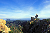 Hiker, Sandstone Peak, Backbone Trail, Santa Monica Mountains, National Recreation Area, California (MR)