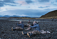 Waterfowl hunting with Outdoorlife Editor John Snow, guide with Four Flyways Outfitters Ben Teale, and Associate Editor with American Hunter Jon Draper in Cold Bay, Alaska, Monday, October 31, 2016. The Izembek National Wildlife Refuge lies on the northwest coastal side of central Aleutians East Borough along the Bering Sea and Cold Bay. Birds hunted include the long tailed duck, the Steller's Eider, the Harlequin, the King Eider and Brant.<br /> <br /> <br /> Photo by Matt Nager
