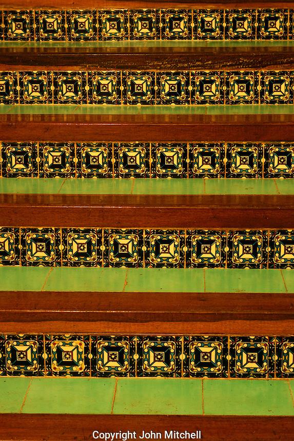 Close-up of tiled steps at the Hotel Hacienda Uxmal near the Mayan ruins of Uxmal, Yucatan, Mexico..