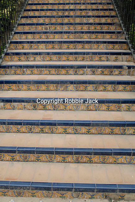 Tiled steps at El Alcazar in Seville, Spain.