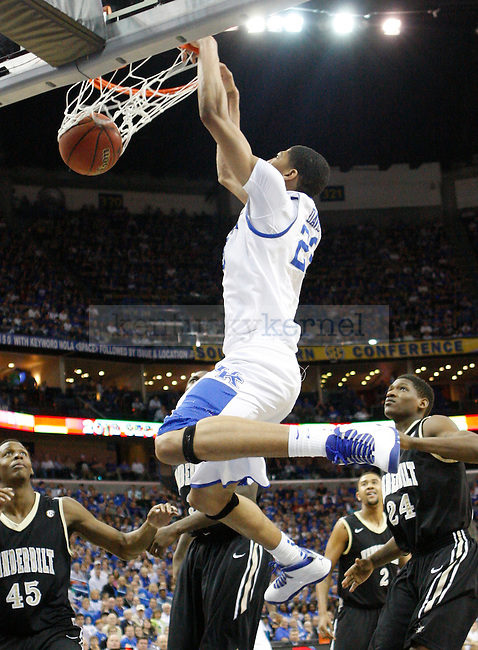 UK forward Anthony Davis during the first half in the 2012 SEC Tournament championship game between Kentucky and Vanderbilt, played at New Orleans Arena, on 3/11/12.  Photo by Quianna Lige | Staff