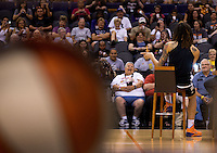 Jun. 10, 2013; Phoenix, AZ, USA: Phoenix Mercury center Brittney Griner speaks to fans during a team practice at the US Airways Center. Mandatory Credit: Mark J. Rebilas-