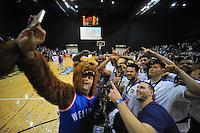 Saints players and fans celebrate with a selfy after winning the national basketball league final between Wellington Saints and Bay Hawks at TSB Bank Arena, Wellington, New Zealand on Saturday, 5 July 2014. Photo: Dave Lintott / lintottphoto.co.nz