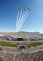 Mar 2, 2008; Las Vegas, NV, USA; The U.S. Air Force Thunderbirds perform a fly over prior to the NASCAR Sprint Cup series UAW Dodge 400 at Las Vegas Motor Speedway. Mandatory Credit: Mark J. Rebilas-US PRESSWIRE