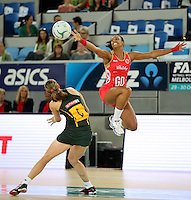 04.09.2016 England's Stacey Francis and South Africa's Erin Burger in action during the Netball Quad Series match between England and South Africa played at Margaret Court Arena in Melbourne. Mandatory Photo Credit ©Michael Bradley.