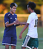 Cole Huertas #6 of Plainview JFK, shakes hands with Pedro Reyes Farjado #18 of Westbury after a tightly contested Nassau County Conference AA-3 boys soccer game at Westbury High School on Friday, Oct. 14, 2016. Plainview JFK won by a score of 1-0.