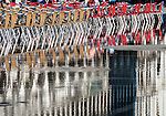 Reflection of chairs in Piazza San Marco (St Mark's Square), Venice, Italy