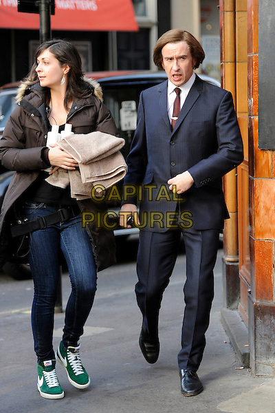 "Steve Coogan.Filming on the set of ""The King of Soho"", Soho, London, England..12th March 2012.full length suit black blue.CAP/IA.©Ian Allis/Capital Pictures."
