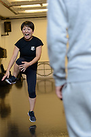 Dramatic combat instructor Haruka Kuroda teaches a stage fighting workshop, Jacksons Lane Arts Centre, London, UK, August 14, 2018. Japan-born Kuroda is a British Academy of Dramatic Combat certified instructor. She also voiced the character Noodle in the virtual pop group Gorillaz and appears on the CBBC programme Officially Amazing.