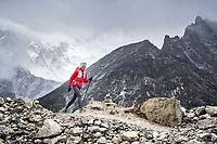 Running down the Kongma La pass while trail running the Khumbu Valley's 3 Passes Tour, Nepal.